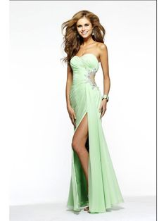 Sexy Sheath / Column Sweetheart Beaded Floor Length / Long Chiffon Prom / Evening / Formal / Party Dresses With Slit 2401049