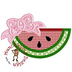 Watermelon Bow Applique by Munchkym Designs available at #appliqueforum for only 10 bonus credits. Grab it today before it disappears! www.appliqueforum.com #applique #machineembroidery @justbehappy