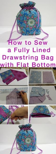 How to Sew Fully Lined, Flat Bottomed, Drawstring Bag FREE Pattern — Kristin Omdahl http://www.kristinomdahl.com/whats-new/2017/1/4/how-to-sew-fully-lined-flat-bottomed-drawstring-bag-free-pattern