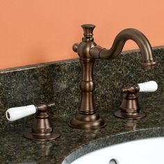 Roseanna Widespread Bathroom Faucet with Small Porcelain Lever Handles - Gents bathroom