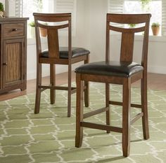 Counter Height Chairs Set Of 2 Dining Wood Back Stools Footrest Leather  Rustic