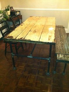 Hey, I found this really awesome Etsy listing at https://www.etsy.com/listing/160193596/salvaged-industrial-door-table