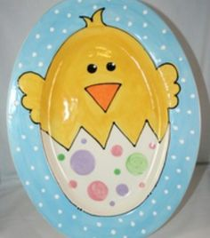 hand painted plater for easter. #DIY