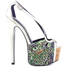 Climb to the top of the fashion ladder in this towering stiletto by London Trash. The Calypso showcases a peacock printed fabric at the vamp and 2 inch cork platform. A silver metallic leather forms the sexy straps and 7 inch skyscraping heel. Stilettos, Pumps Heels, High Heels, Sexy Heels, Peacock Shoes, Peacock Feathers, Christian Louboutin, Killer Heels, Metallic Leather