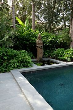 Balinese Garden Style Asian Pool by Virginia W. Kelsey, AIA Balinese Garden Style Asian Pool by Virginia W. Balinese Decor, Balinese Garden, Bali Garden, Asian Garden, Tropical Garden, Garden Water, Pool Water Features, Backyard Pool Landscaping, Landscaping Ideas