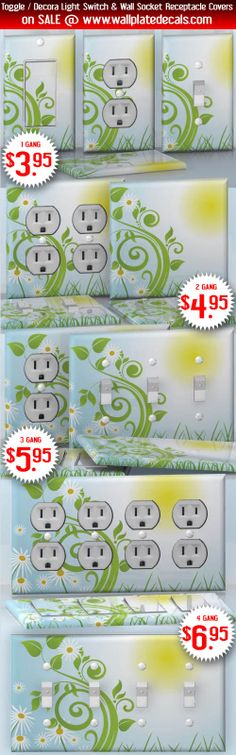 DIY Do It Yourself Home Decor - Easy to apply wall plate wraps   Good Morning Sun!  Light blue sky with daisies  wallplate skin stickers for single, double, triple and quadruple Toggle and Decora Light Switches, Wall Socket Duplex Receptacles, and blank decals without inside cuts for special outlets   On SALE now only $3.95 - $6.95