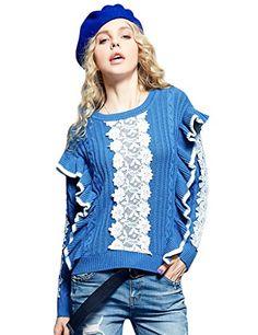 Elf Sack Women's Winter Crewneck Lace Ruffled Sweater Blu…