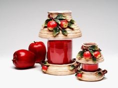 Small Clay Decorative Apple Jar Shade with Jar and Fruit Design by ATD. $20.99…