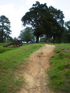 US cannon and earthworks at Yorktown National Battlefield, Yorktown, Virginia