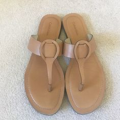 Calvin Klein tan sandals Light tan leather sandals with supporting sole. No visible wear. Great condition. Calvin Klein Shoes Sandals