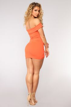 Libra Off Shoulder Dress - Orange