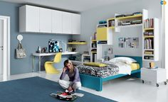 blue yellow cool teens room design ideas