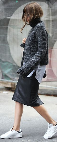 Gray Cropped Sweater Fall Inspo by Fashion And Style
