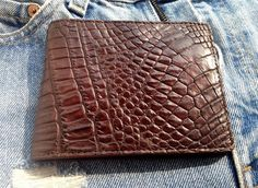 ALL IN BROWN!!! REAL CROCODILE BELLY LEATHER SLIM WALLET #Handmade #Bifold