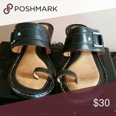 Black wedge sandals Black born wedge sandals, barely worn Born Shoes Wedges