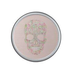 Girly Pink Floral Paisley Sugar Skull Sketch Bluetooth Speaker
