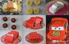 Fulger Cake Decorating Tutorials, Cookie Decorating, Fondant Cakes, Cupcake Cakes, Lightning Mcqueen Cake, Lightening Mcqueen, Race Car Cakes, Motorcycle Cake, Queen Cakes