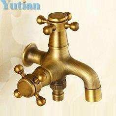 Long garden use Bibcock faucet tap crane Antique Brass Finish Bathroom Wall Mount Washing Machine Water Faucet Taps YT-5169 #Affiliate