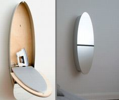 A hidden ironing board turns into a mirror.