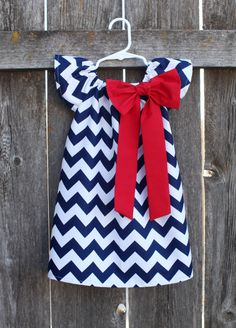 Navy Red Chevron Bow Peasant Dress - Baby Girl