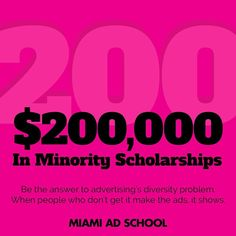 In the #creative departments of Americas #adagencies #minorities are woefully underrepresented. Be part of the solution: apply for some of the $200K in minority scholarships offered by Miami Ad School. #bethechange BLOG LINK IN BIO