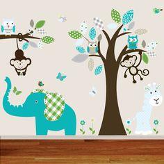 Childrens jungle wall decal nursery tree owl bird elephant giraffe teal grey kids playroom decal on Etsy, $140.00