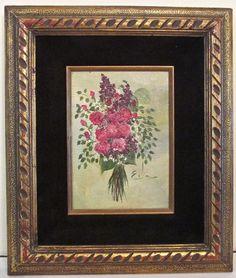 SOLD- Eda Varricchio Vintage Framed Original Acrylic Painting FLOWER BOUQUET Signed #Impressionism