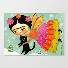 Collect your choice of gallery quality Giclée, or fine art prints custom trimmed by hand in a variety of sizes with a white border for framing. Black Cat Images, Latino Art, Frida Art, Fine Art Prints, Canvas Prints, Home Wall Art, Cat Art, Winter Wonderland, Happy Holidays