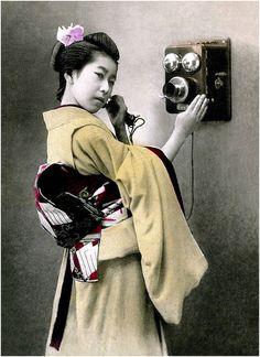 * by Okinawa Soba on Flickr   Japanese woman on the phone, early 1900   femme japonaise au téléphone, début des années 1900