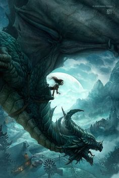 A little girl on a very big dragon (artist: http://kerembeyit.deviantart.com/)