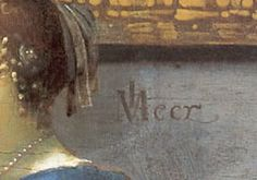 The signature of Johannes Vermeer in the painting, A Lady Seated at a Virginal, 1670-75