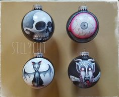 Original hand painted gothmas glass baubles  by me: Sillycut