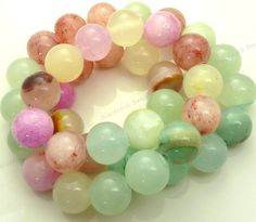 10mm Mixed Jade Round Gemstone Beads - 15.5 Inch Strand - Green, Pink, Yellow Beads - BG2 by BlackrockBeads on Etsy