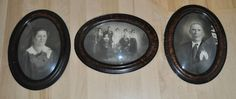 Antique 3 Set 25x19 Oval Tigerwood Picture Frame Convex Bubble Glass Colorized