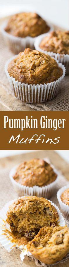Pumpkin Ginger Nut Muffins ~ Best Pumpkin Muffins! Spiced with ginger ...