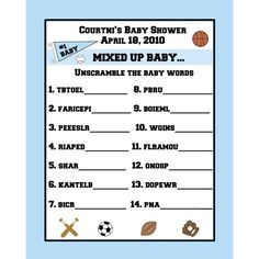 fun Sports Themed Baby Shower Games | 24 Personalized Word Scramble Baby Shower Game Cards - Sports Theme ...