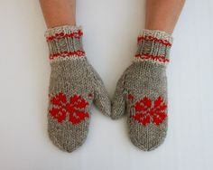 grey and red mittens