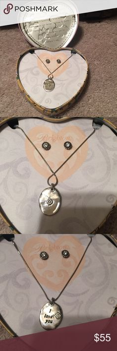 Brighton earrings and necklace Brighton earrings and necklace / never used/ comes in heart box/ I love you necklace with small diamond and diamond earrings (don't know if diamonds are real) Brighton Jewelry Earrings