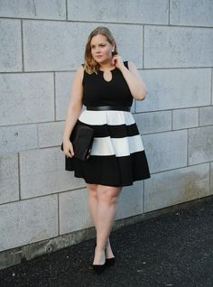 6987281ff13 Emmi wears Black And White Block Stripe Skater Dress  Bloggers  Dress   Yoursclothing http