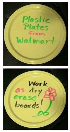 Plastic plates can become individual whiteboards for students. | 35 Money-Saving DIYs For Teachers On A Budget