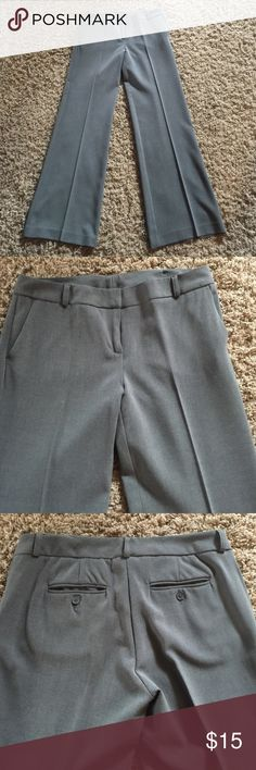 New York & Company gray dress pants Gray dress pants with front and back pockets.  Belt loops, hook and button closure.  Boot cut 61% polyester/ 36% rayon/3% spandex.  Stretch fabric New York & Company Pants Trousers