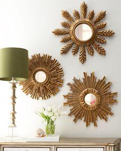 sunburst mirrors at horchowone of these to - Mirrored Wall Decor