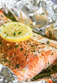 Garlic Butter Salmon is a simple foil packet dinner recipe that's oven-baked for a quick & healthy dinner or made on the grill at your next backyard BBQ. Salmon Foil Packets Grill, Whole Salmon Recipe, Foil Packet Dinners, Frozen Salmon, Marinated Salmon, Butter Salmon, Baked Salmon Recipes, Health Dinner, Enchilada Recipes