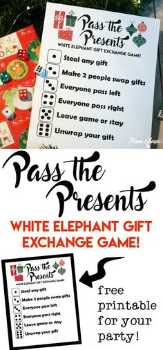 Pass the Presents White Elephant Gift Exchange Game FREE PRINTABLE Super easy and a lot of fun! Pass the Presents White Elephant Gift Exchange Game [. Christmas Gift Exchange Games, Xmas Games, Holiday Games, Holiday Fun, Fun Gift Exchange Ideas, Fun Christmas Games, Christmas Ideas For Kids, Funny Christmas, Staff Christmas Party Ideas