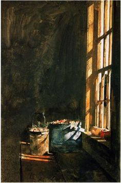 #Artist Andrew #Wyeth Love the #contrast of light and dark.