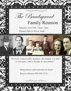 Heritage Collector Storybook: Family Reunion Flyers, invitations and more ideas for your upcoming event! Fun Digital scrapbook pages. Family Reunion Favors, Family Reunion Invitations, Family Reunions, Family Gatherings, Event Invitations, Personalized Greeting Cards, Family Picnic, Family Bbq, Family Genealogy