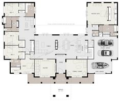 AgathaMabe 5 Bedroom House Plans Awesome Floor Plan Friday U Shaped 5 Bedroom Family Hom. House Layout Plans, House Plans One Story, New House Plans, Dream House Plans, Modern House Plans, House Layouts, House Floor Plans, Family Home Plans, Story House