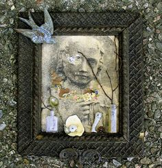 My original photograph of a mid 19th century childs gravestone printed on cream paper coupled with antique frame, swallow and brass molding, vintage