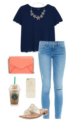 """Baby running after you is like chasing the clouds"" by toonceyb ❤ liked on Polyvore featuring MANGO, Frame Denim, Jack Rogers, Accessorize, Kate Spade and Forever 21"