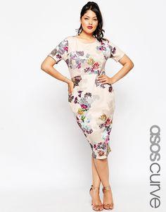 ASOS CURVE Floral Print Scuba Bodycon Dress